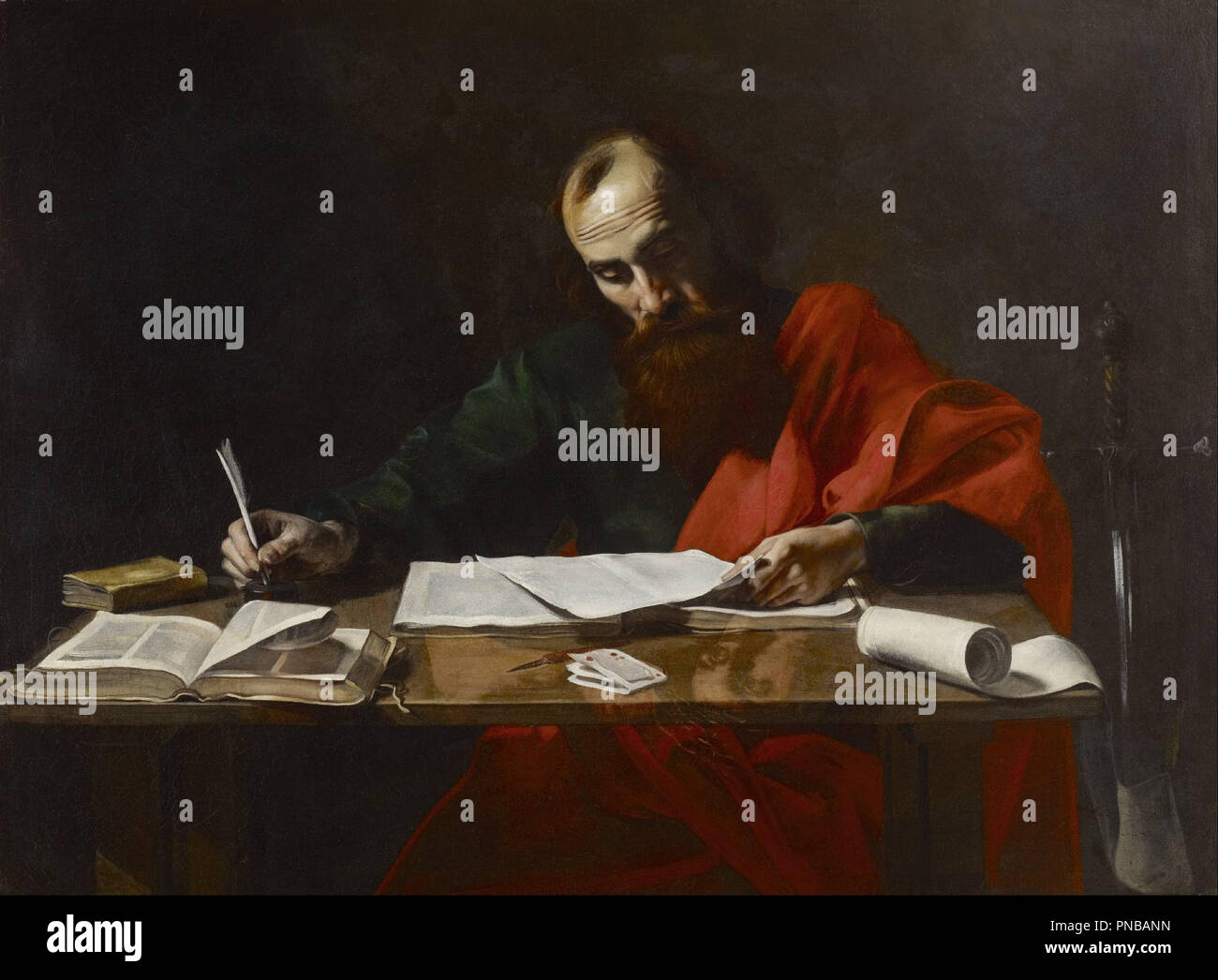 Saint Paul Writing His Epistles. Date/Period: Between ca. 1618 and ca. 1620. Painting. Oil on canvas. Height: 99.38 mm (3.91 in); Width: 52.38 mm (2.06 in). Author: VALENTIN DE BOULOGNE. - Stock Image