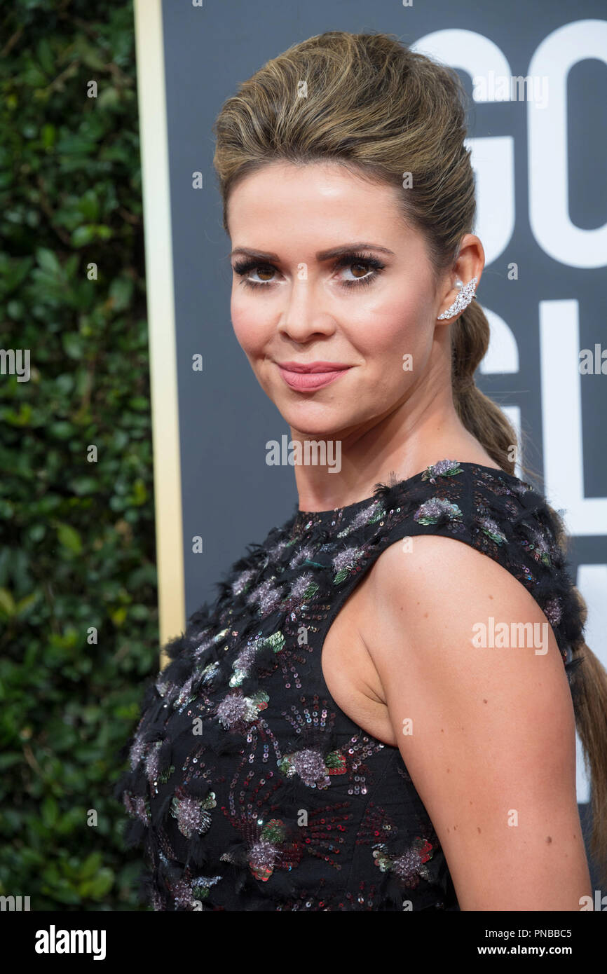TV personality Carly Steel attends the 75th Annual Golden Globes Awards at the Beverly Hilton in Beverly Hills, CA on Sunday, January 7, 2018. - Stock Image