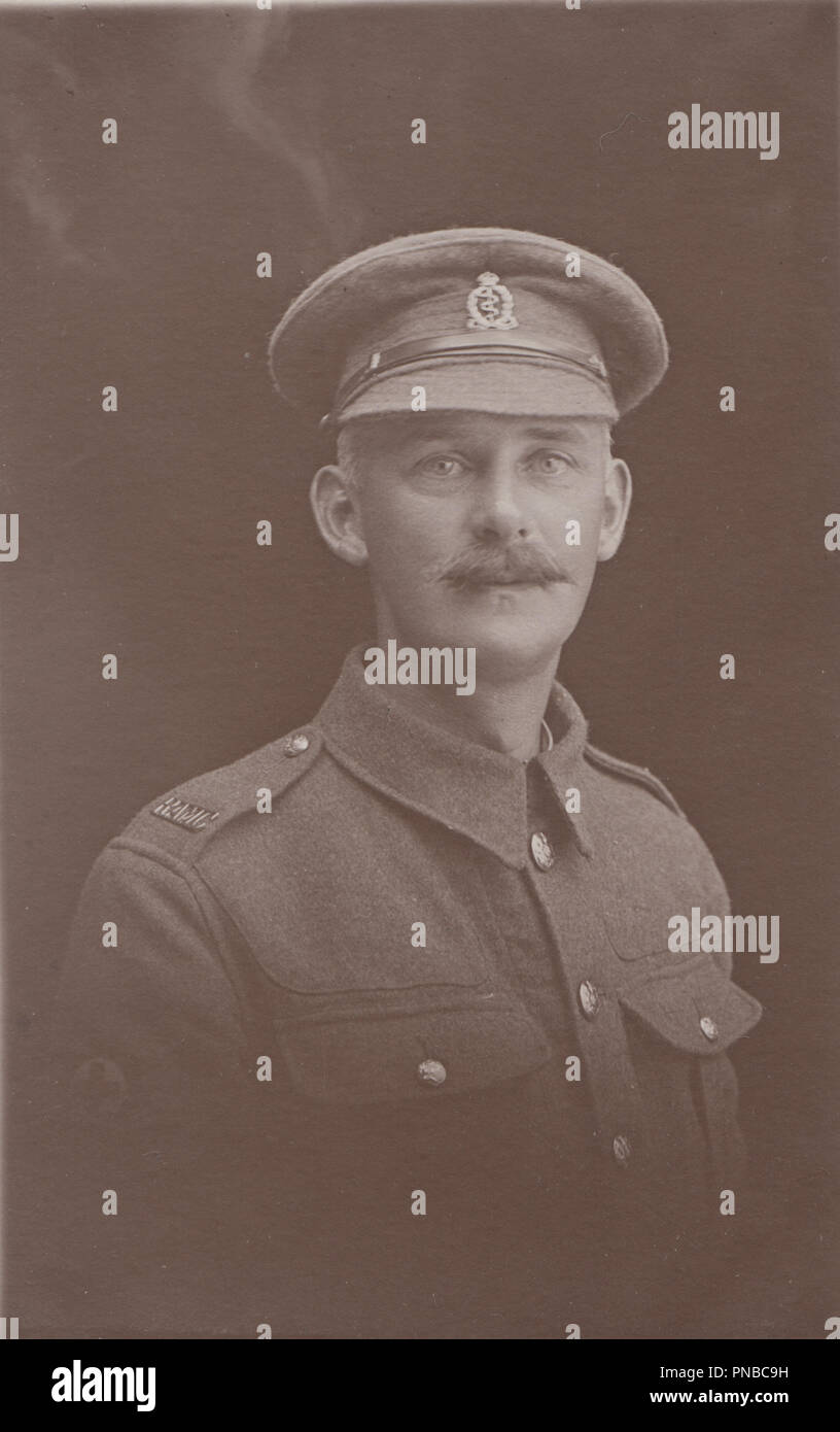 * Vintage Blackpool Photograph of a WW1 Soldier From The Royal Army Medical Corps (RAMC) - Stock Image