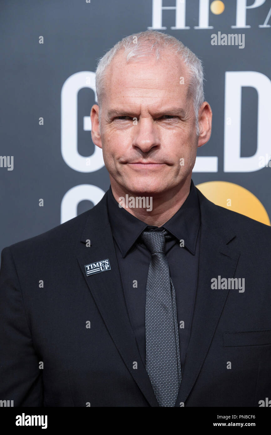 "Nominated for BEST DIRECTOR – MOTION PICTURE for ""Three Billboards Outside Ebbing, Missouri,"" director Martin McDonagh attends the 75th Annual Golden Globes Awards at the Beverly Hilton in Beverly Hills, CA on Sunday, January 7, 2018. Stock Photo"