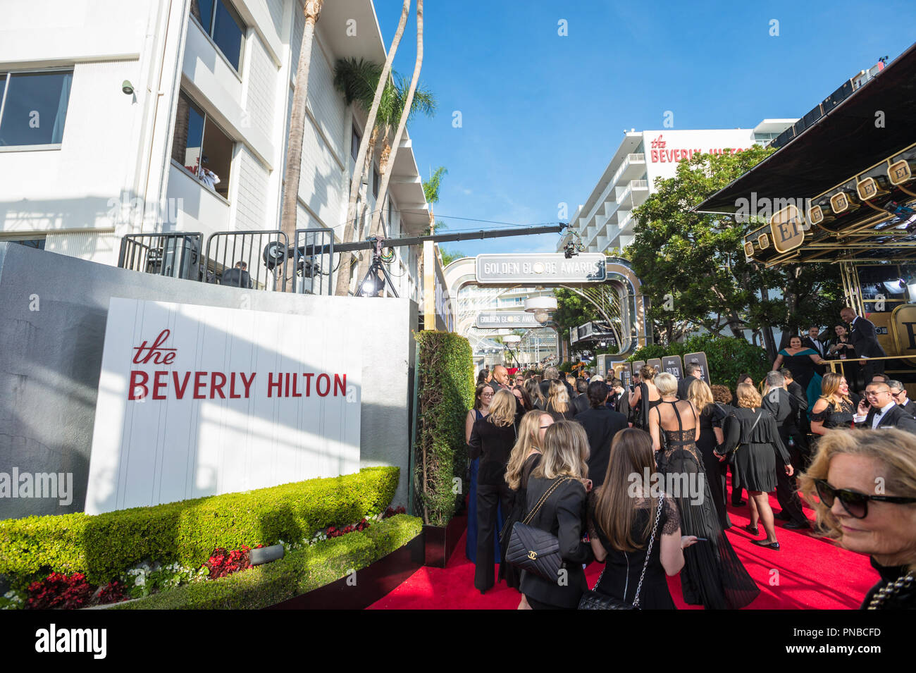 The red carpet at the 75th Annual Golden Globes Awards at the Beverly Hilton in Beverly Hills, CA on Sunday, January 7, 2018. - Stock Image