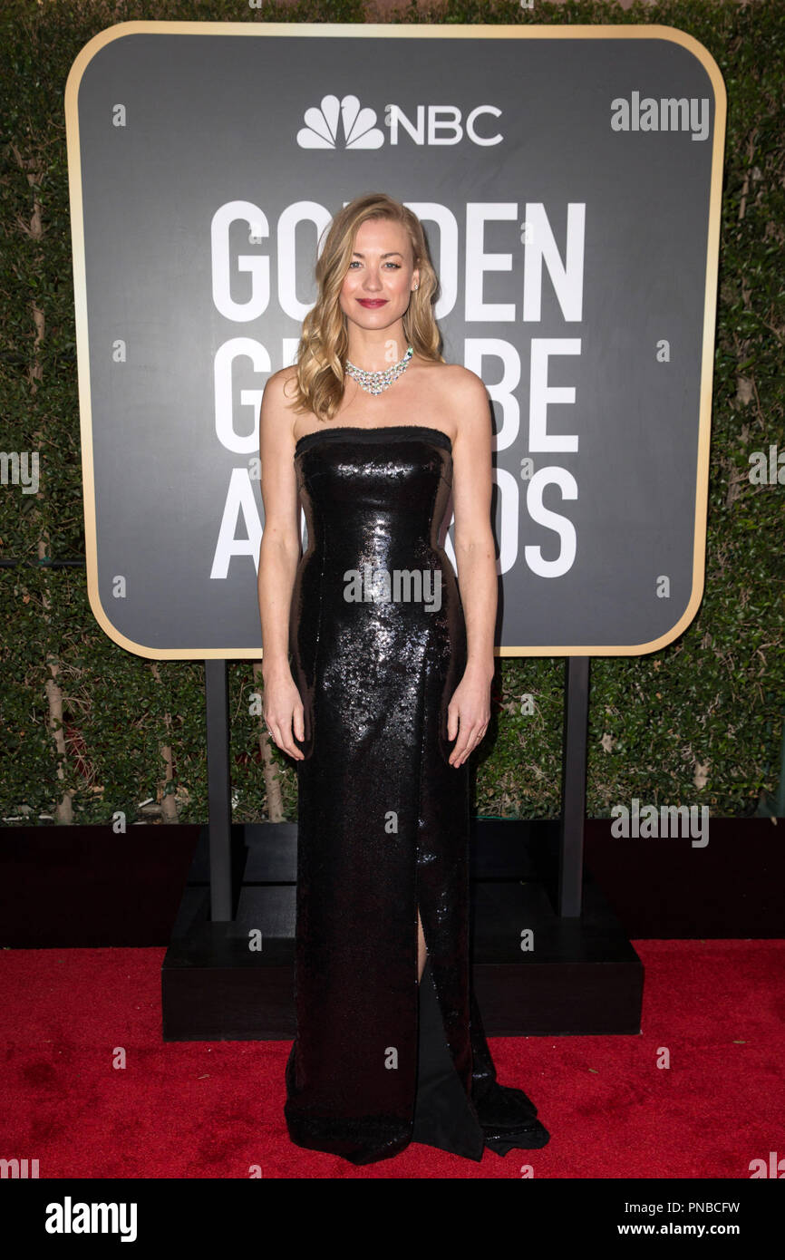 Yvonne Strahovski arrives at the 75th Annual Golden Globe Awards at the Beverly Hilton in Beverly Hills, CA on Sunday, January 7, 2018. Stock Photo