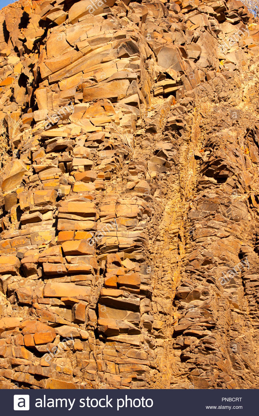 Organ pipes are an interesting geological feature found in the Twyfelfontein Valley, Namibia. - Stock Image