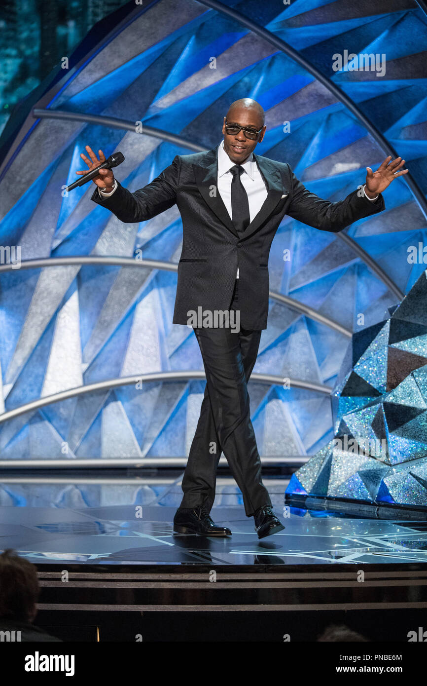 Dave Chapelle presents live performance of 'Stand Up for Something' from 'Marshall' during the live ABC Telecast of The 90th Oscars® at the Dolby® Theatre in Hollywood, CA on Sunday, March 4, 2018.  File Reference # 33546_409PLX  For Editorial Use Only -  All Rights Reserved - Stock Image