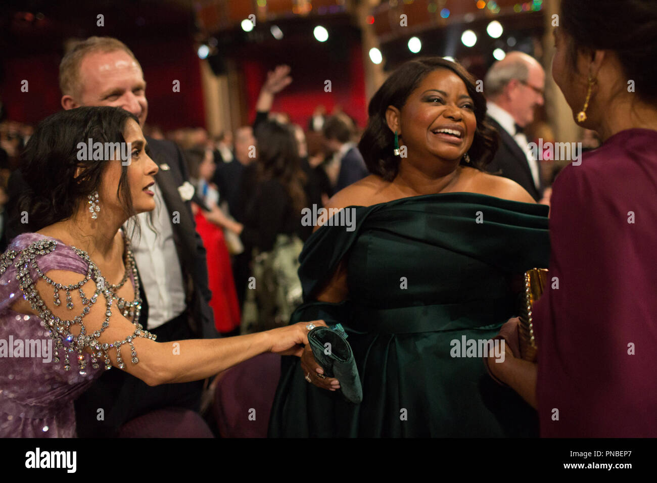 Salma Hayek talks with Oscar®-nominee Octavia Spencer during the live ABC Telecast of the 90th Oscars® at the Dolby® Theatre in Hollywood, CA on Sunday, March 4, 2018.  File Reference # 33546_552PLX  For Editorial Use Only -  All Rights Reserved - Stock Image