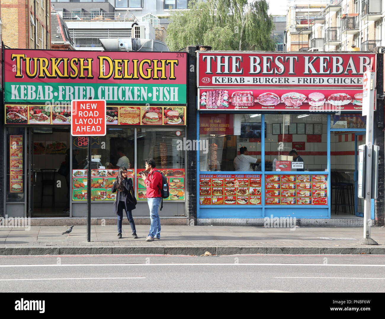 Turkish Delight and The Best Kebab fast food restaurants, Old Street, Shoreditch, London, England, UK Stock Photo