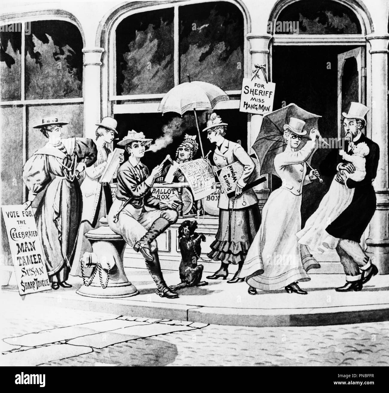 1800s ANTI-SUFFRAGE CARTOON SHOWING WOMEN RUNNING FOR OFFICE WEARING PANTS BOOTS SMOKING CIGARETTE ATTACKING MAN HOLDING BABY - a7969 HAR001 HARS 1800s B&W VOTE CIGARETTES FREEDOM POLITICAL HUMOROUS STYLES TROUSERS SUFFRAGE TURN OF THE 20TH CENTURY WOMEN'S RIGHTS CARTOON EXCITEMENT LEADERSHIP PROGRESS RIGHTS TO FEMININE MASCULINE OCCUPATIONS POLITICS RIGHT POOCH EQUAL RIGHTS CAMPAIGN 19TH CENTURY CONCEPTUAL STYLISH SUPPORT BLOOMERS SEXISM WOMEN'S BALLOT BOX FASHIONS SEXIST BLACK AND WHITE CAUCASIAN ETHNICITY DEMONSTRATING FEMINIST HAR001 OLD FASHIONED - Stock Image