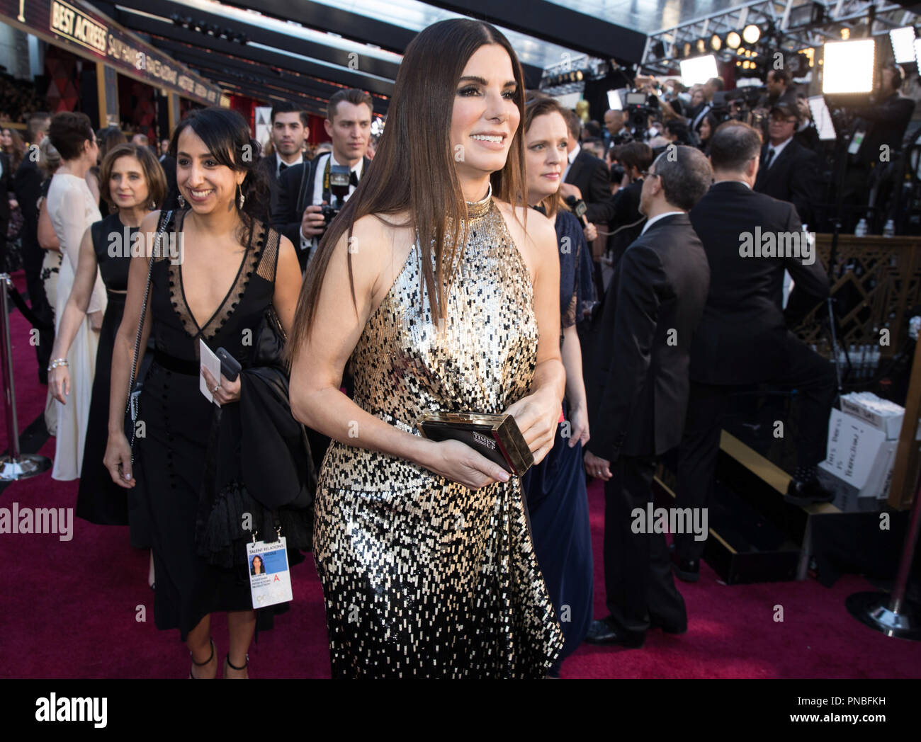 Sandra Bullock arrives on the red carpet of The 90th Oscars