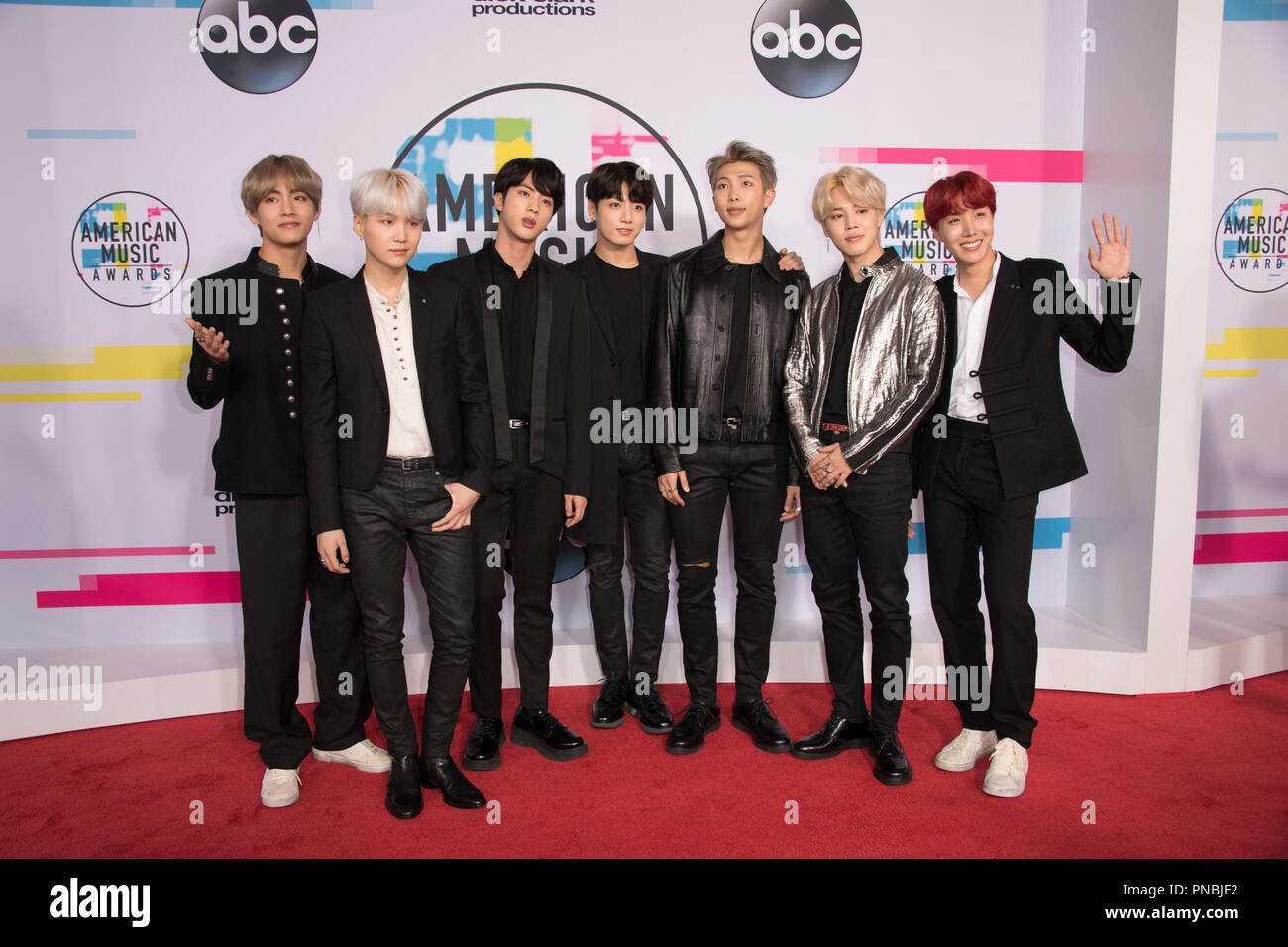 "THE 2017 AMERICAN MUSIC AWARDS(r) - The ""2017 American Music Awards,"" the world's biggest fan-voted award show, broadcasts live from the Microsoft Theater in Los Angeles on SUNDAY, NOVEMBER 19, 2017, on ABC.  BTS  File Reference # 33481_082  For Editorial Use Only -  All Rights Reserved - Stock Image"