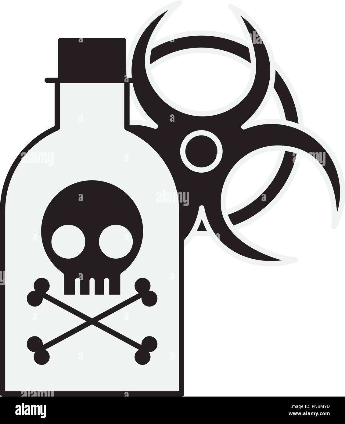 poison bottle hazard danger radiation sign - Stock Image