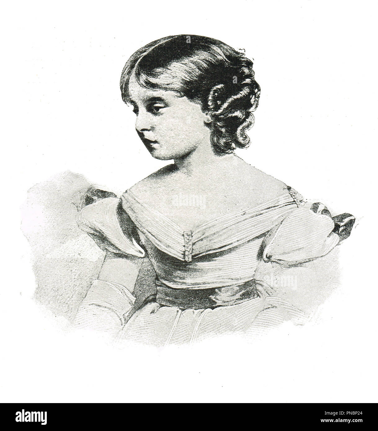 Princess Victoria, aged 10, future Queen Victoria as a child.   Later to be Queen of the United Kingdom of Great Britain and Ireland, and Empress of India - Stock Image