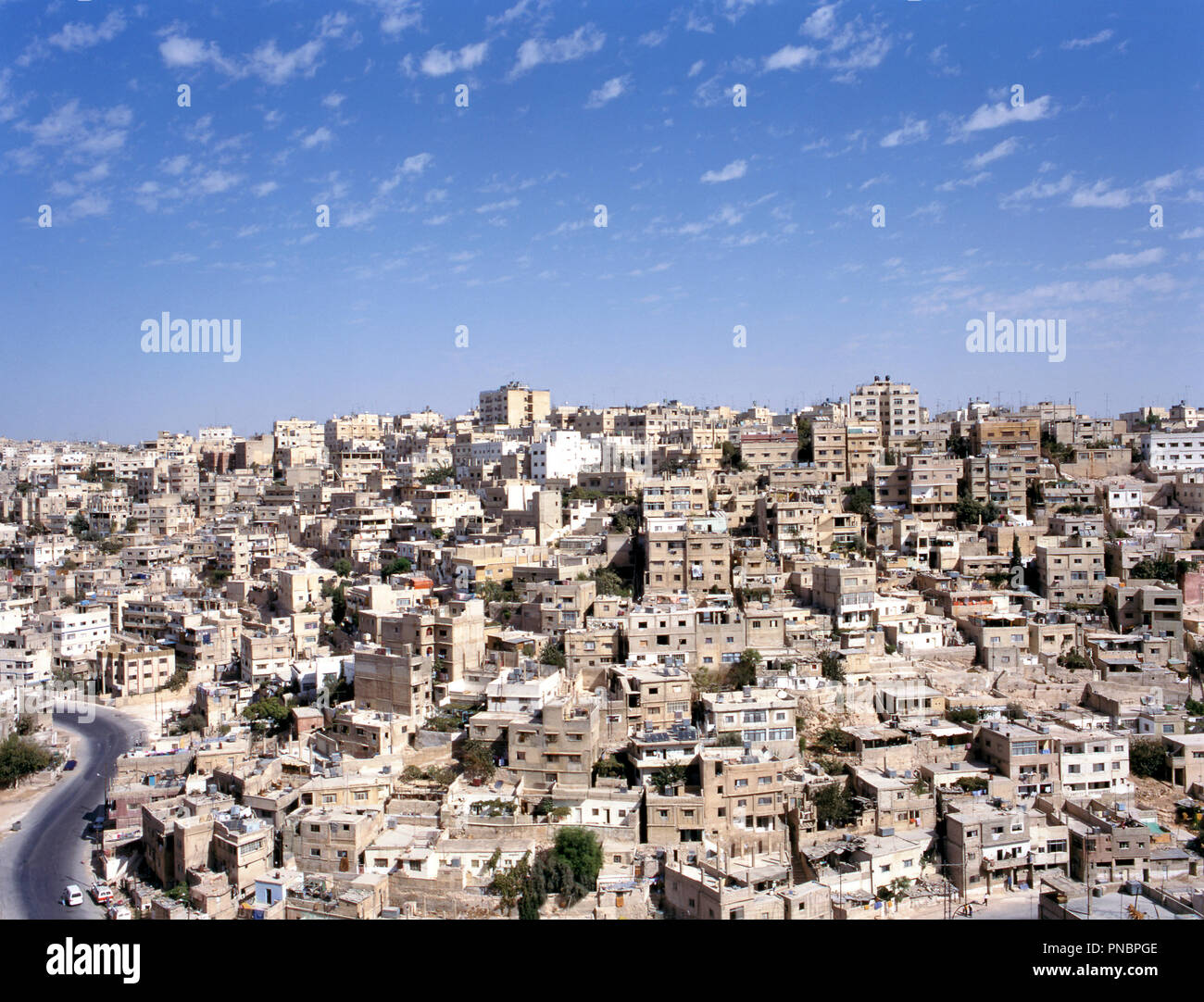Birdview of Amman the capital of Jordan in the Middle East - Stock Image