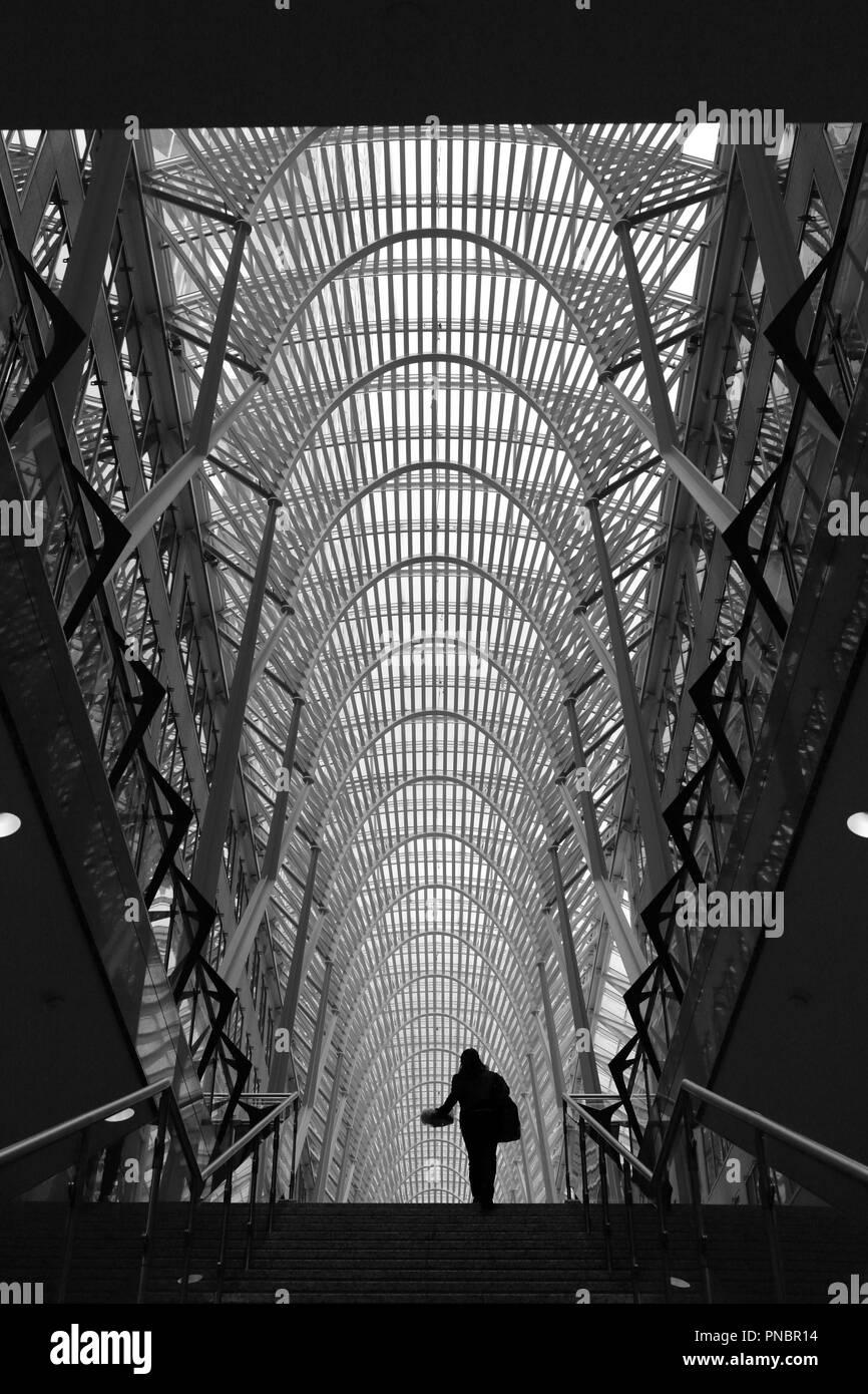 Woman holding platter in Allan Lambert Galleria - Stock Image