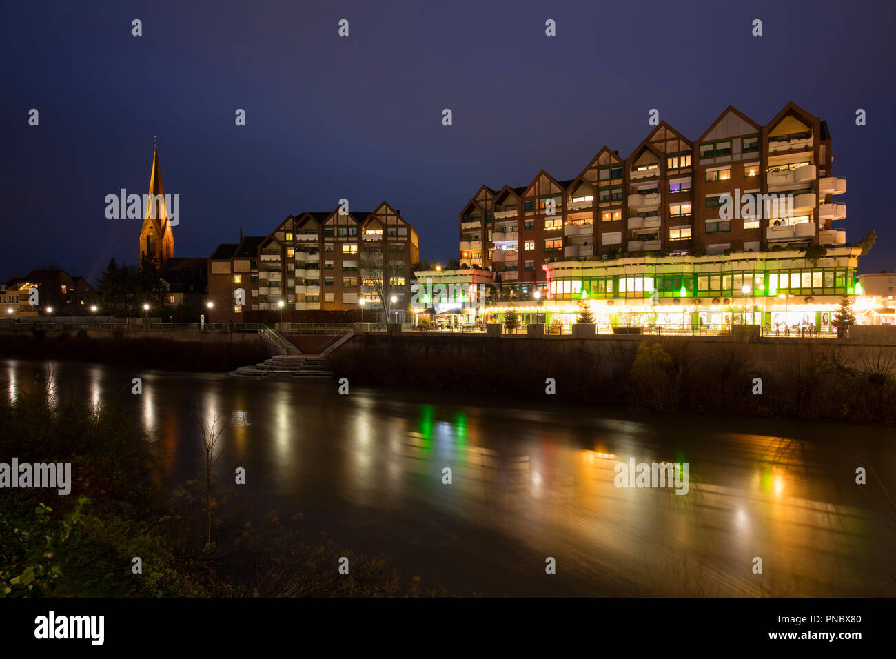 Town view, Lünen, Ruhr district, North Rhine-Westphalia, Germany, Europe - Stock Image