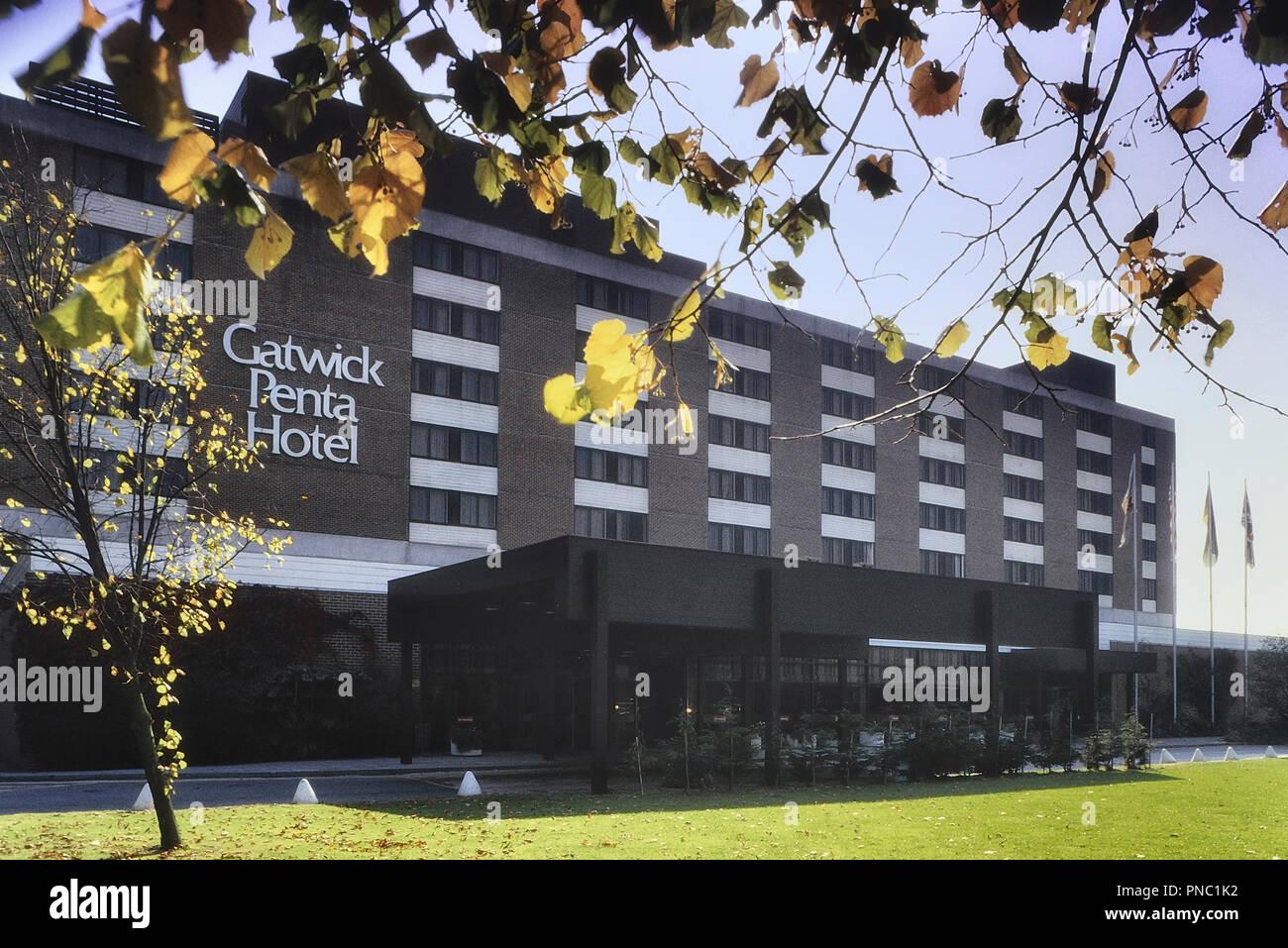 Gatwick Travelodge, formally The Gatwick Penta Hotel, Horley, England, UK. Circa 1980's - Stock Image