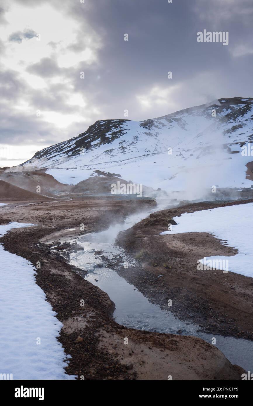 Hot springs, fumaroles and clay mudpots at Seltun Geothermal area at Krysuvik - Seltunshverir - Krysuv'kurhverir with minerals sediments on Reykjanes  - Stock Image