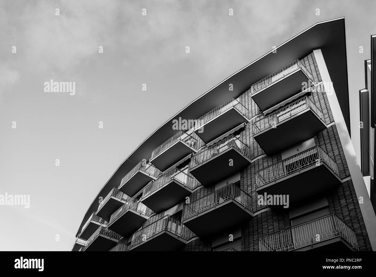 Building with balconies, Sorrento, Italy - Stock Image