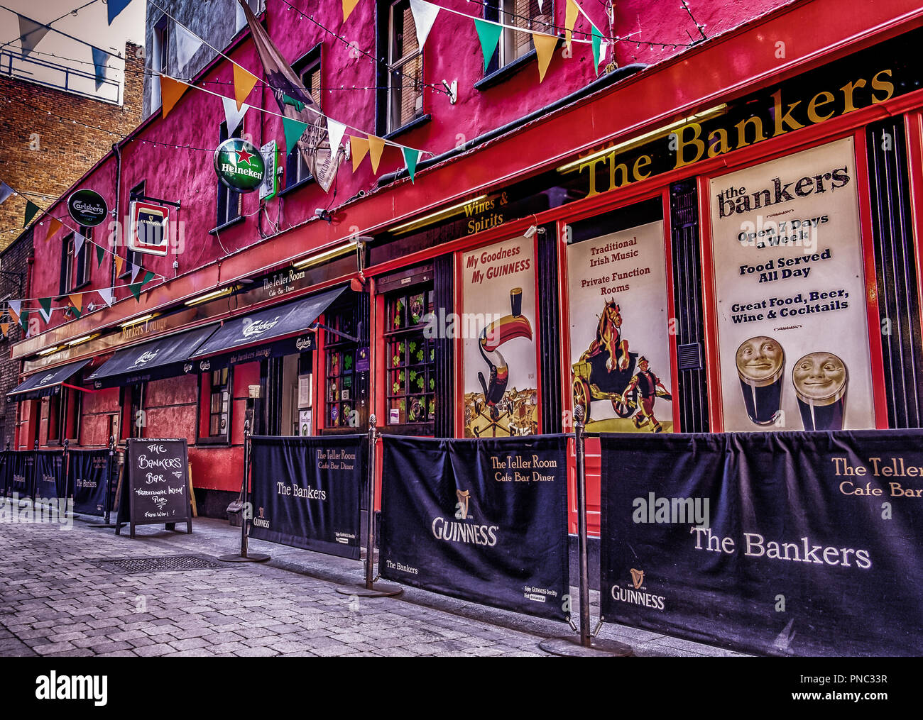 Dublin, Ireland, March 2018, outside The Bankers (Pub, bar, restaurant) in Dame - Stock Image