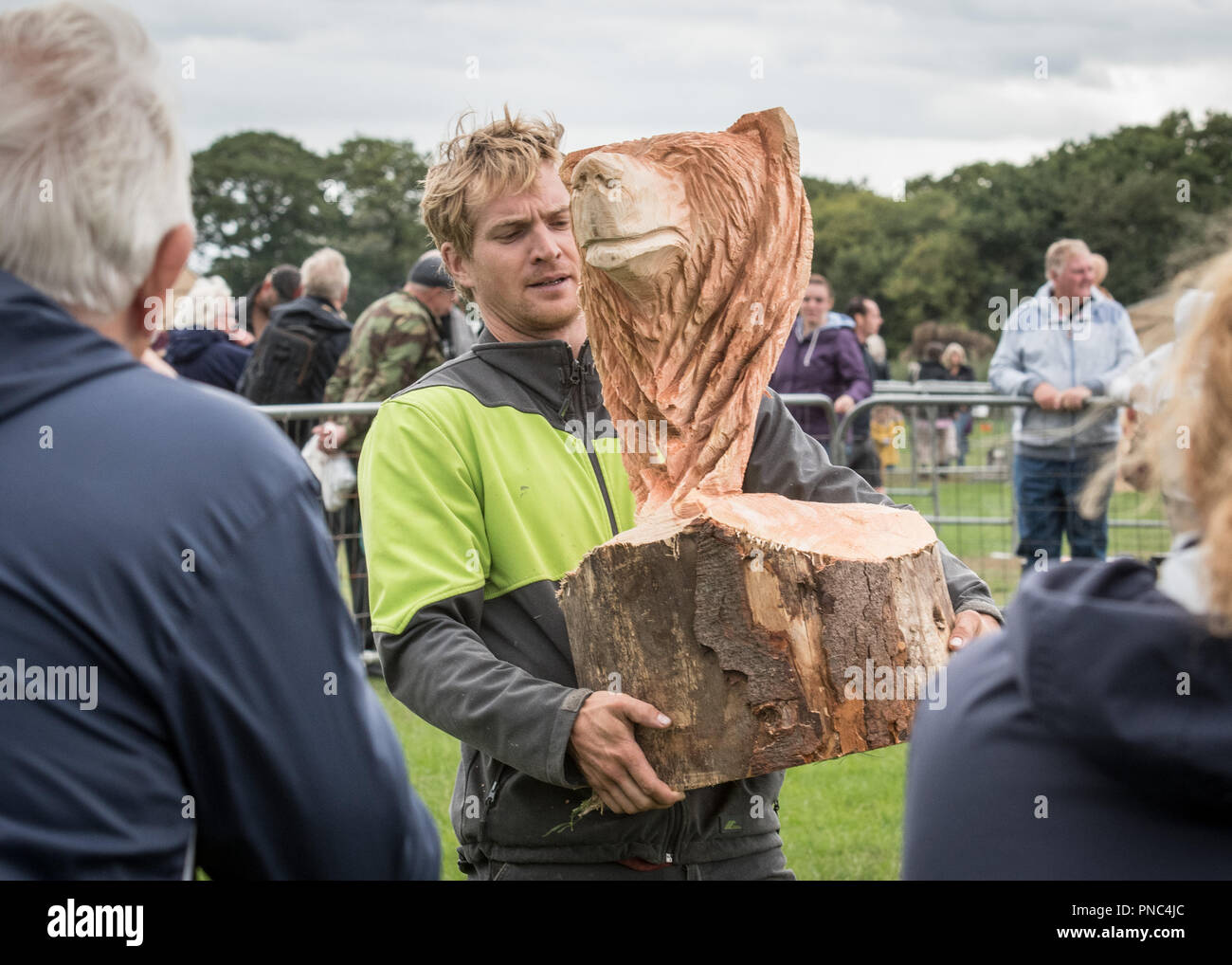 Cheshire Game & Country Fair Open Chainsaw Competition 2018 Stock Photo
