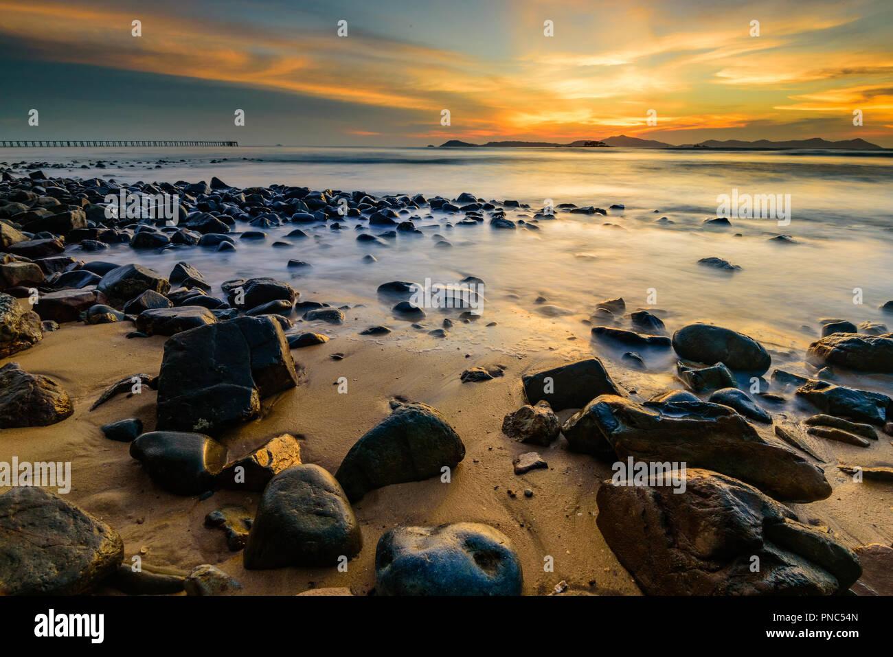 Wonderful Sunset in West Borneo - Stock Image