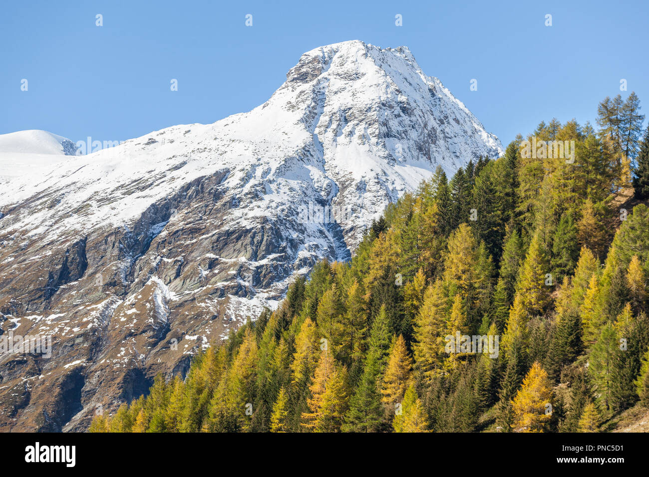View of the alp mountains in autumn - Stock Image