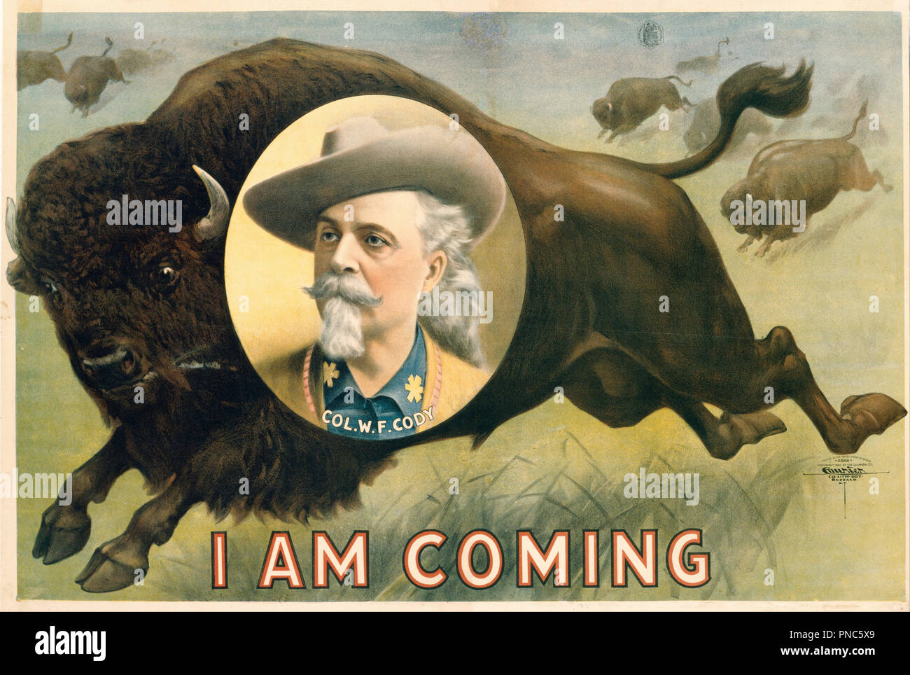 'Buffalo Bill' Cody. Date/Period: 1900. Chromolithographic poster. Print. Height: 673 mm (26.49 in); Width: 1,031 mm (40.59 in). Author: Courier Lithography Company. - Stock Image