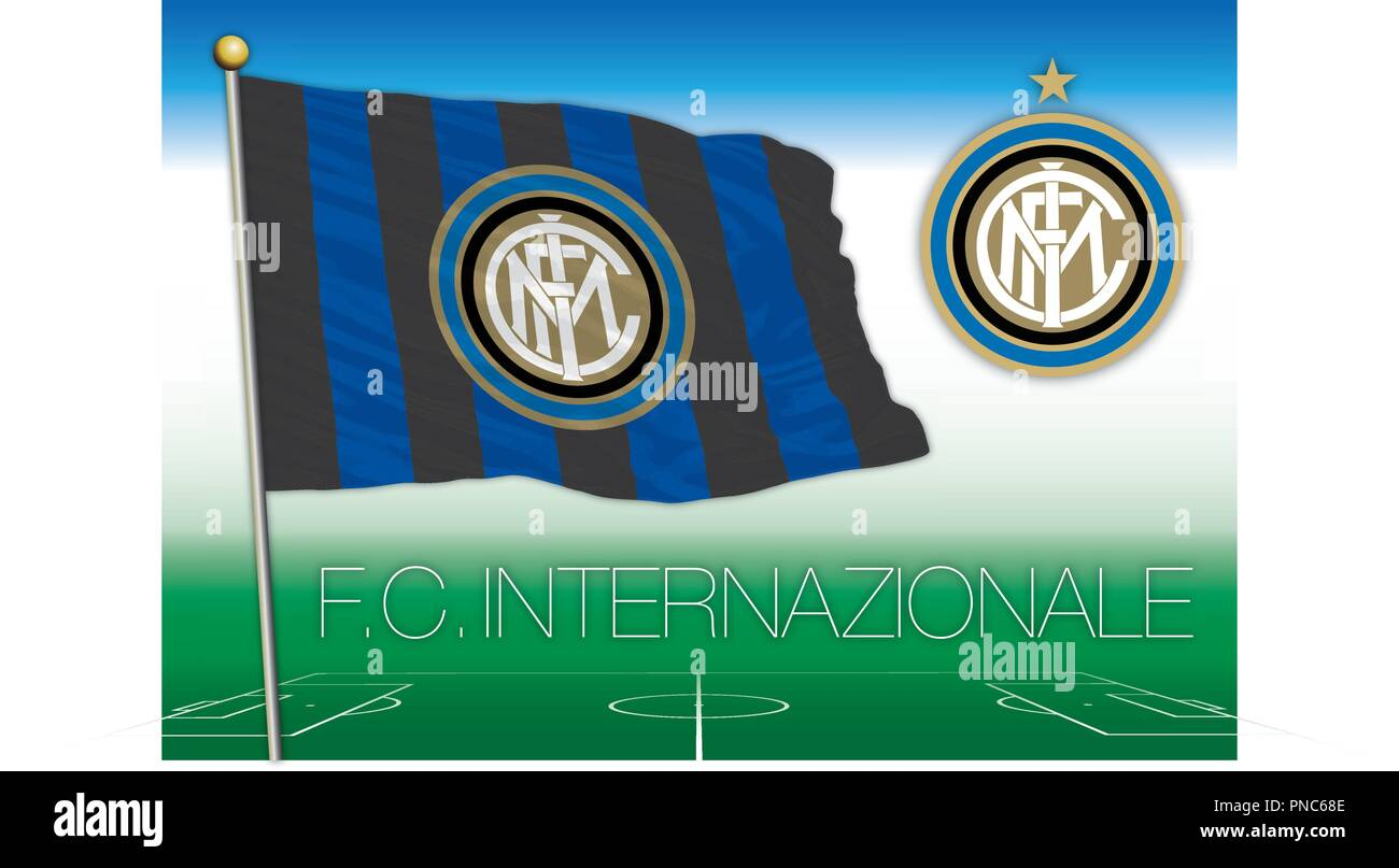 MILAN, ITALY, YEAR 2018 - Serie A football championship, 2018 flag of the Internazionale fc team - Stock Vector