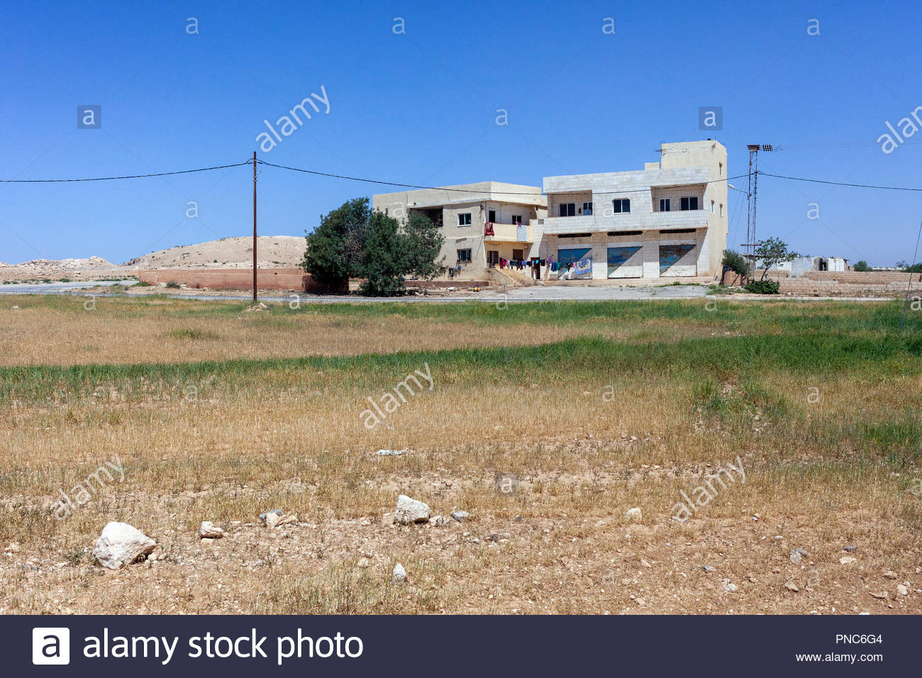 Large House in Need of Repair in Jordan, near Amman in the Middle East - Stock Image
