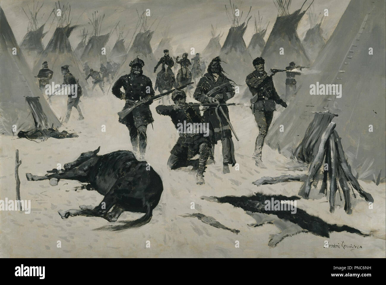 The Defeat of Crazy Horse. Date/Period: 1899/1903. Painting. Oil on canvas. Width: 101.6 cm. Height: 68.6 cm (without frame). Author: Frederic Remington. - Stock Image