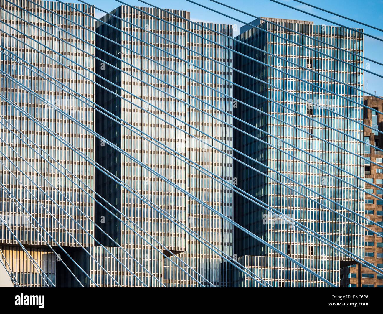 Rotterdam Architecture - De Rotterdam building sits behind the landmark Erasmus bridge in central Rotterdam NL. De Rotterdam opened 2013. - Stock Image