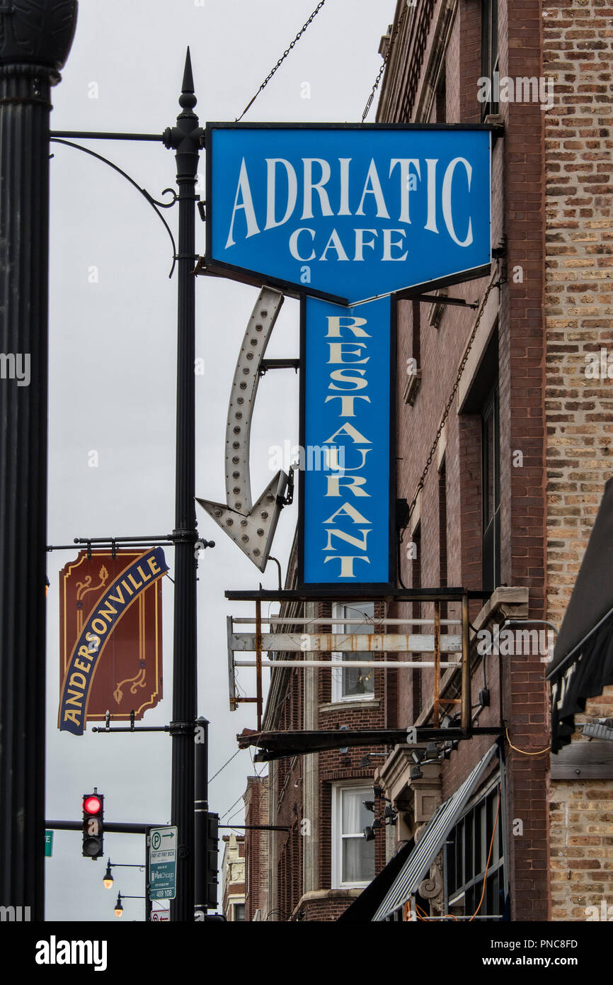 Adriatic Cafe neon sign, Andersonville, Chicago, IL. - Stock Image