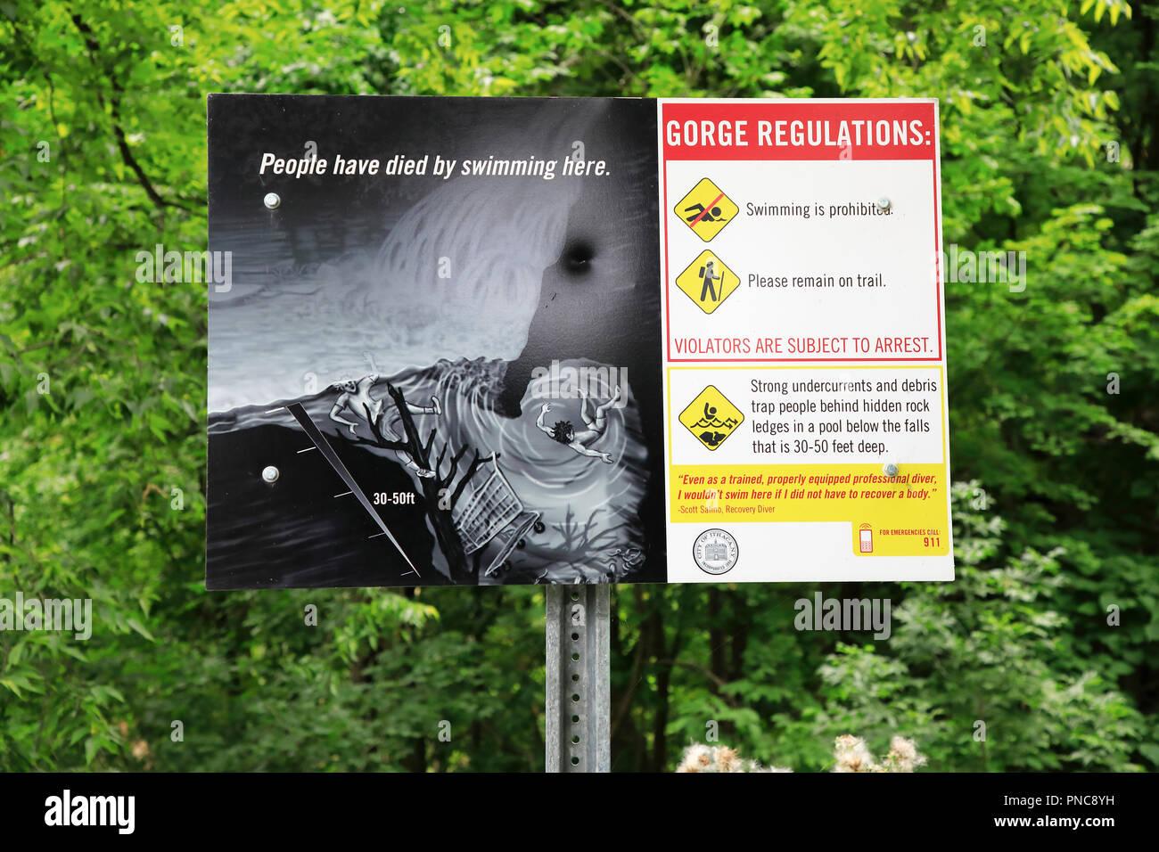 Waring sign in Watkins Glen Gorge.Watkins Glen State Park.New York.USA - Stock Image