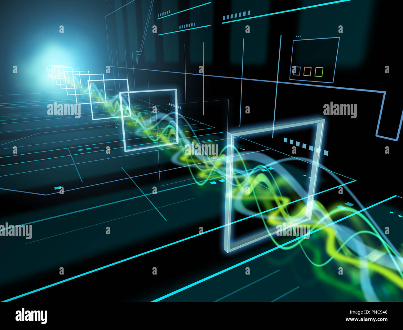 Transfer Of Energy Stock Photos Images Wiring Money Pnc High Technology Background With Some Beams Travelling Through A Tunnel 3d Illustration