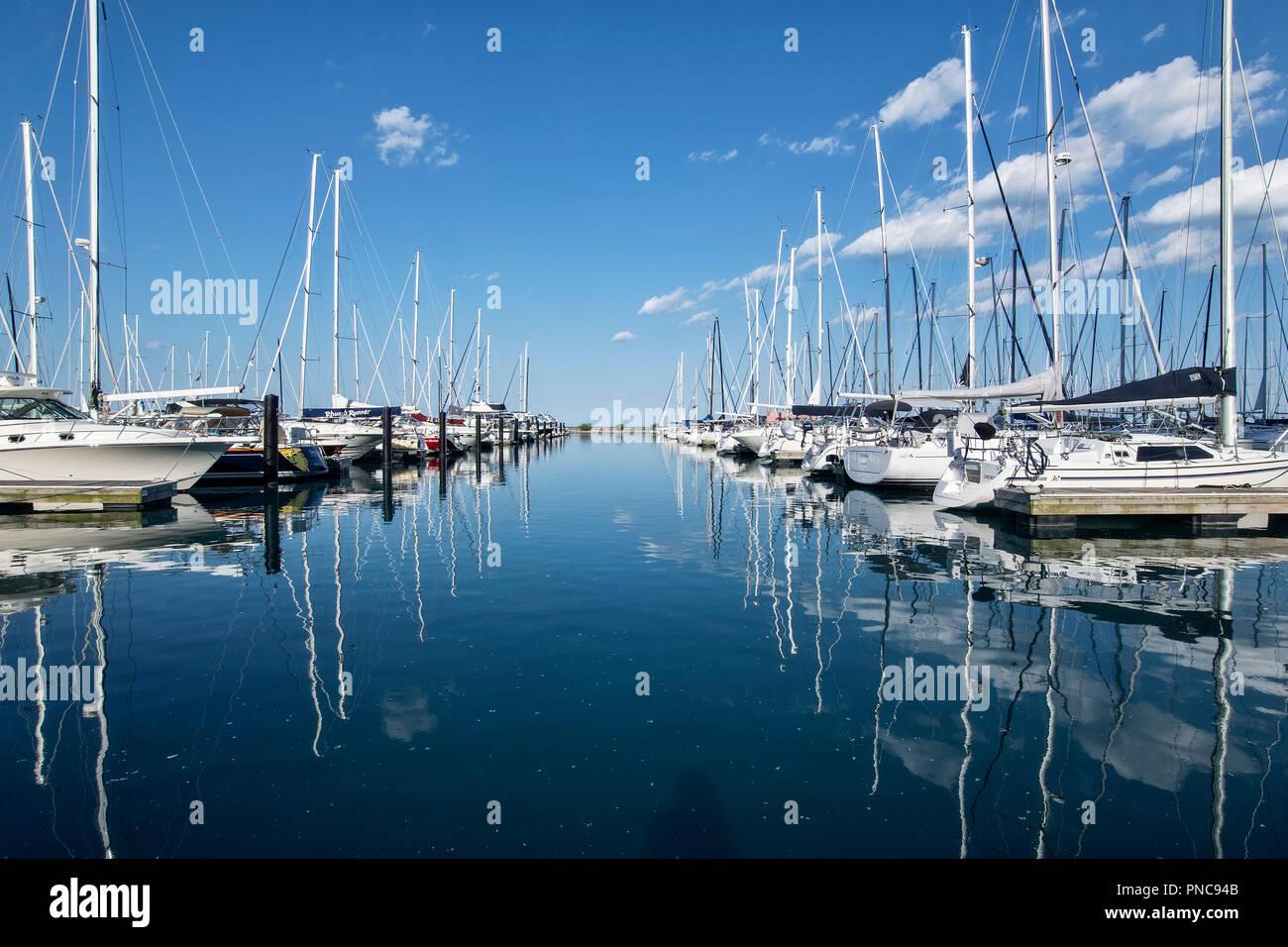 Boats in DuSable Harbor, Lake Michigan, Chicago, IL. - Stock Image
