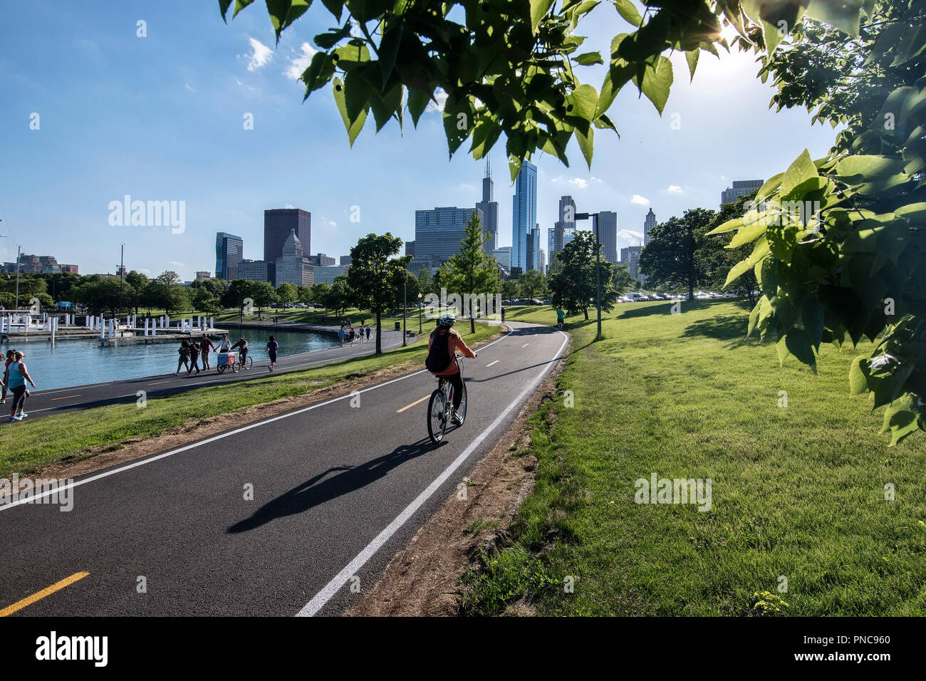 Bicycle riders on Lakefront Trail with the Chicago, IL skyline. - Stock Image
