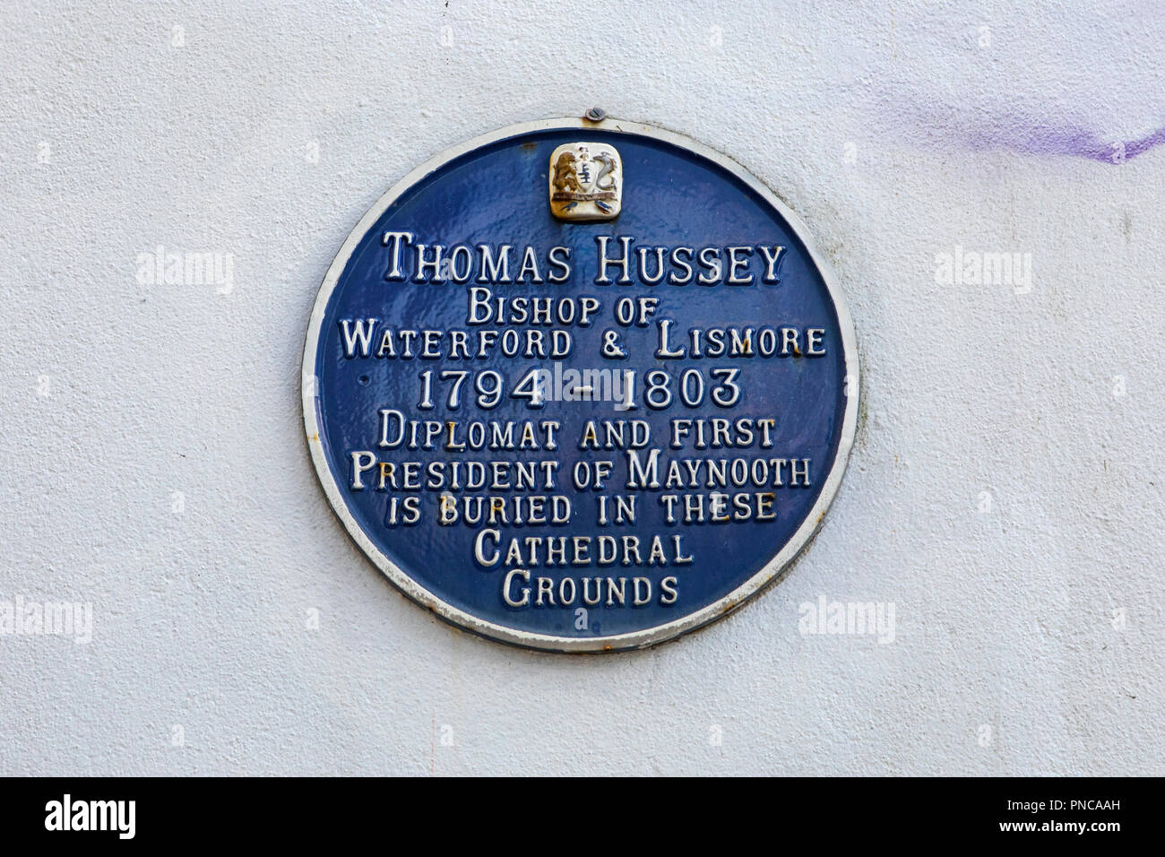 Waterford, Republic of Ireland - August 14th 2018: A plaque at the Cathedral of the Most Holy Trinity in the city of Waterford, marking the location w - Stock Image