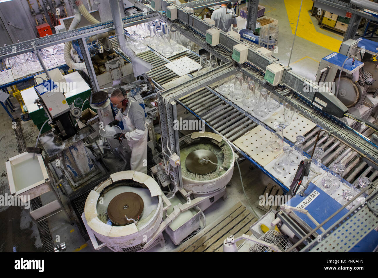 Waterford, Republic of Ireland - August 15th 2018: The Quality Inspection Department in the Waterford Crystal factory, in the city of Waterford, Repub - Stock Image
