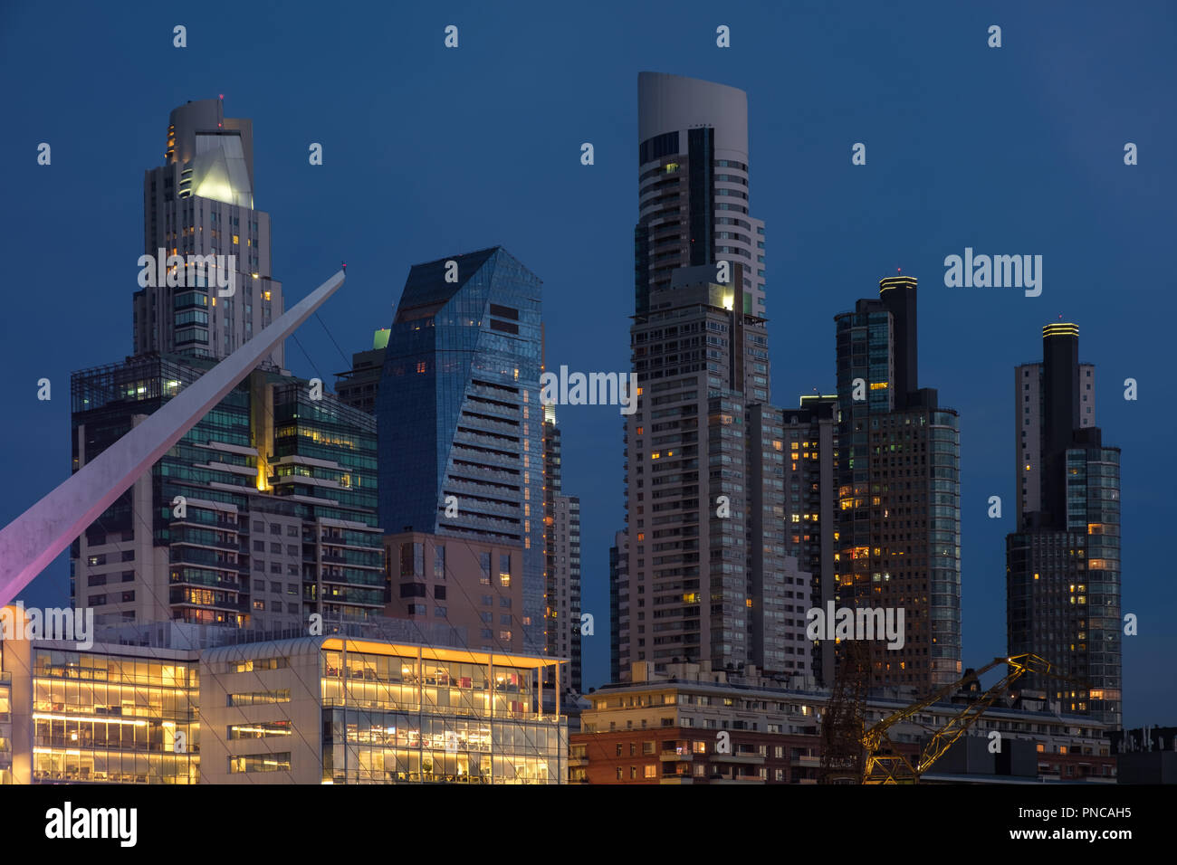Buenos Aires modern architecture skyline tight shot at blue hour in Argentina - Stock Image