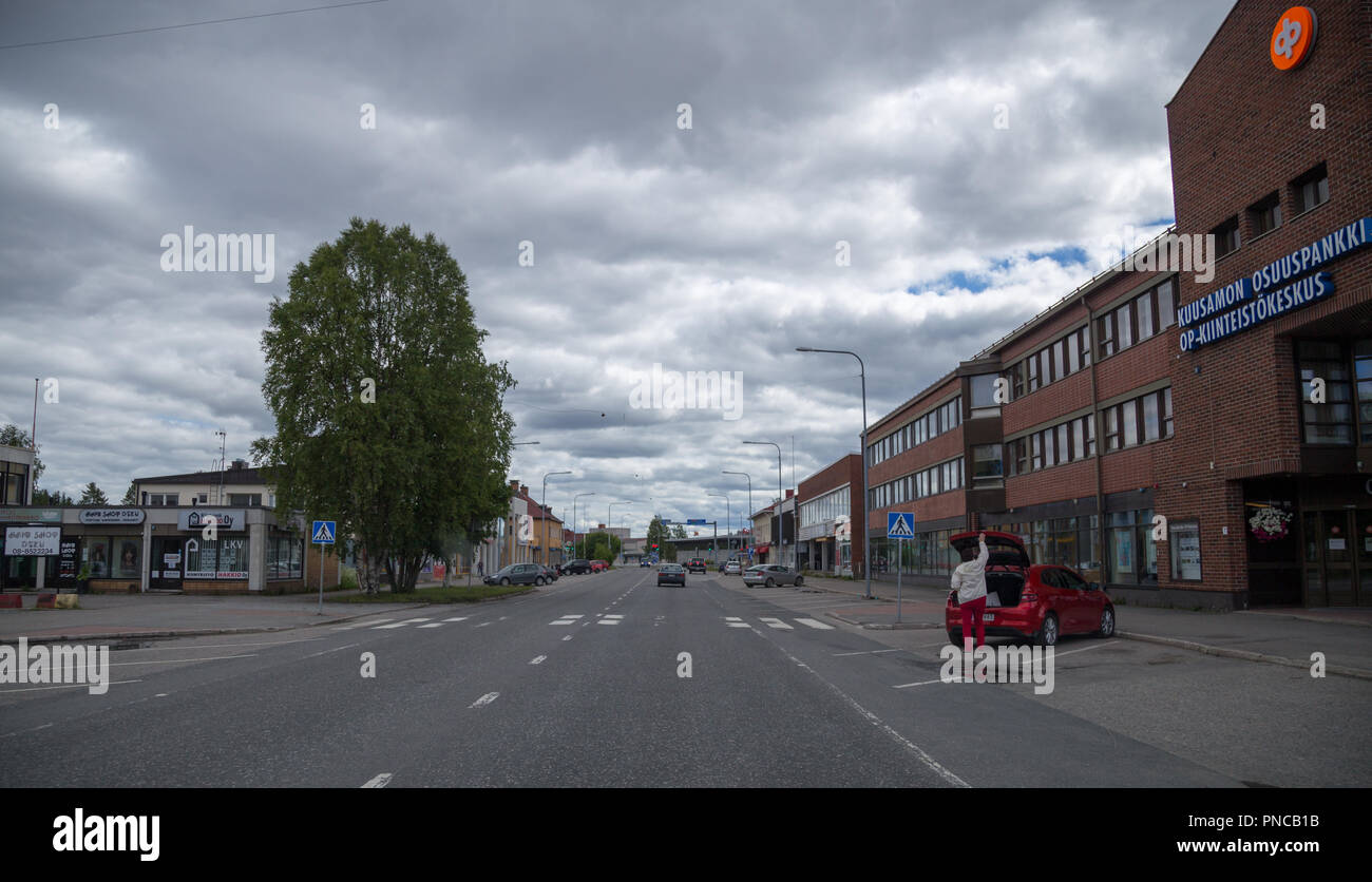 06.24.2018 Kuusamo Finland, driving through the city on a cloudy day - Stock Image