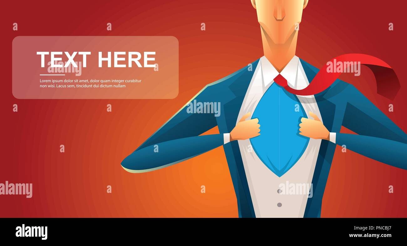 Handsome young man in a business suit wearing a tie with a white shirt. Vector illustration on white background. The concept of a successful businessman. Hero, ripping off his shirt. - Stock Vector