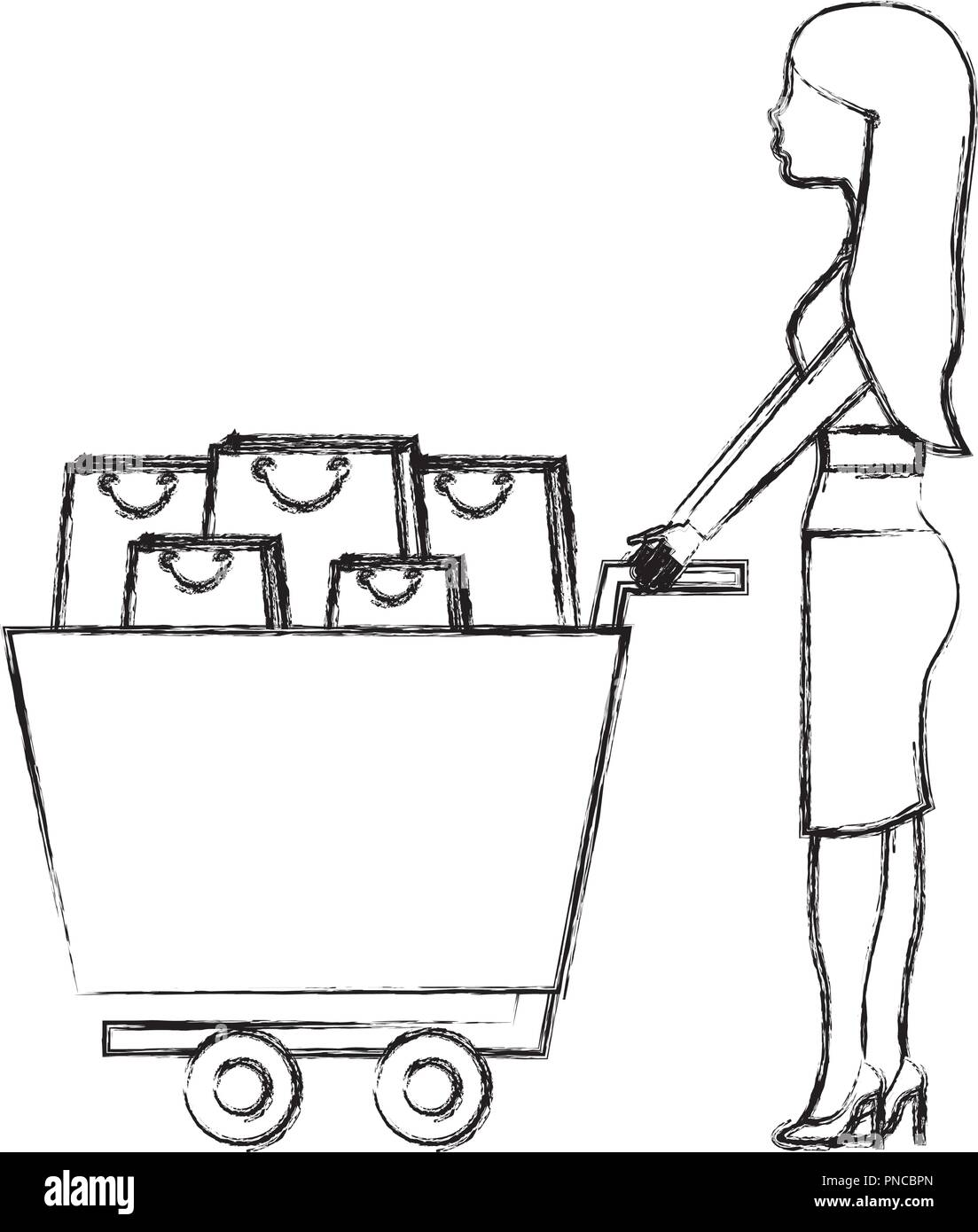 woman with shopping cart and bags - Stock Vector