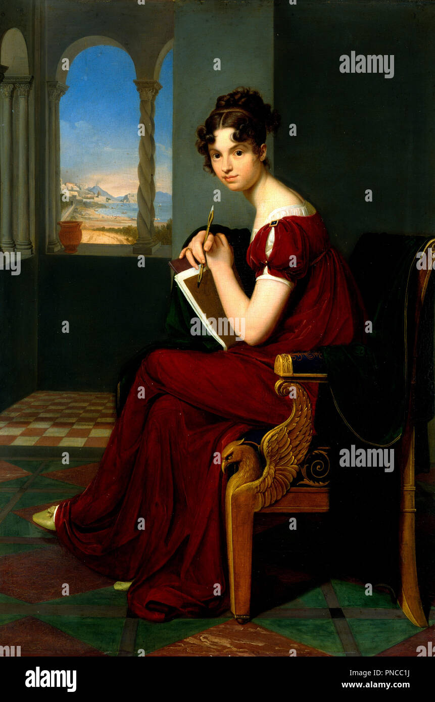 Young Lady with Drawing Utensils. Date/Period: 1816. Painting. Oil on walnut. Height: 70 cm (27.5 in); Width: 48.5 cm (19 in). Author: CARL CHRISTIAN VOGEL VON VOGELSTEIN. VOGEL VON VOGELSTEIN, CARL CHRISTIAN. Stock Photo