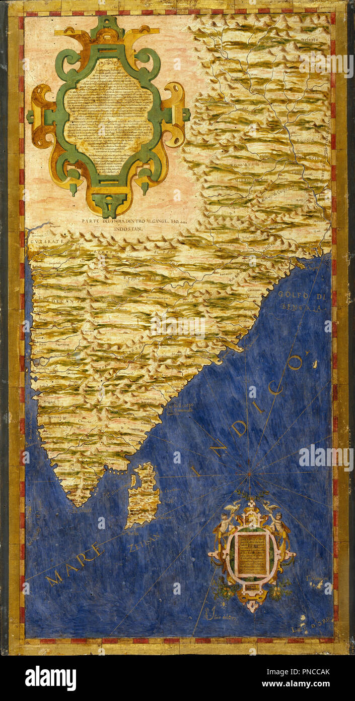 Indian subcontinent and island of Sri Lanka. Date/Period: 1575. Oil painting on wood. Height: 115 mm (4.52 in); Width: 61 mm (2.40 in). Author: EGNAZIO DANTI. IGNAZIO DANTI. - Stock Image