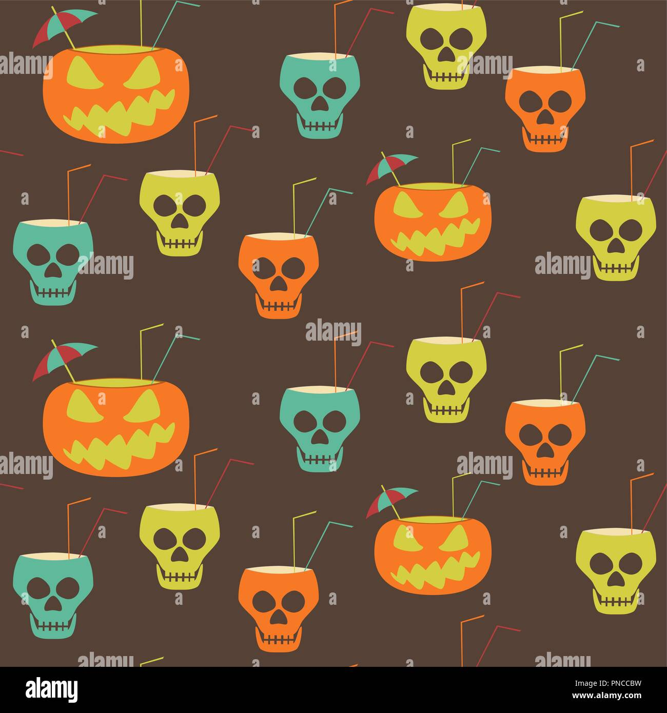 Halloween party seamless pattern. Evil pumpkins and skulls with drinking straws and cocktail umbrellas. Stylish print retro brown, orange, blue, green - Stock Vector