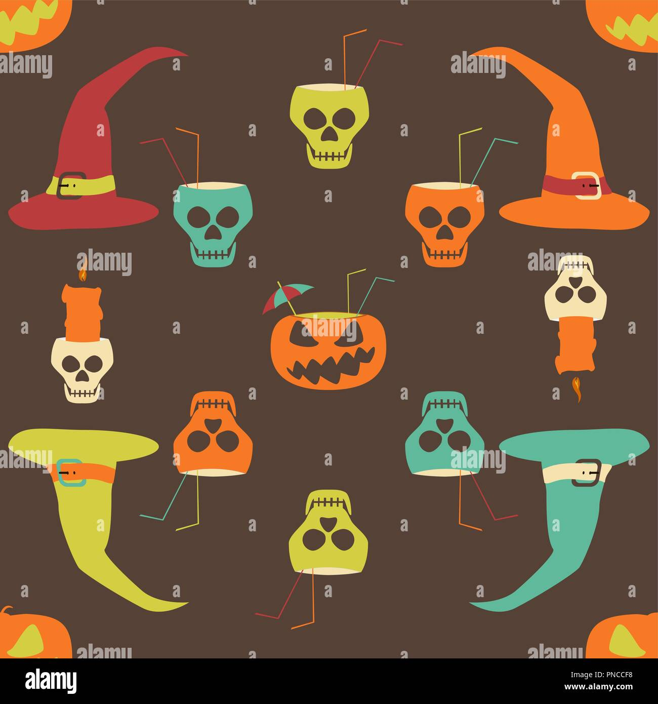 Halloween party seamless pattern. Evil pumpkins with drinking straws and cocktail umbrellas, human skulls as goblets and candlesticks, witch hats - Stock Vector