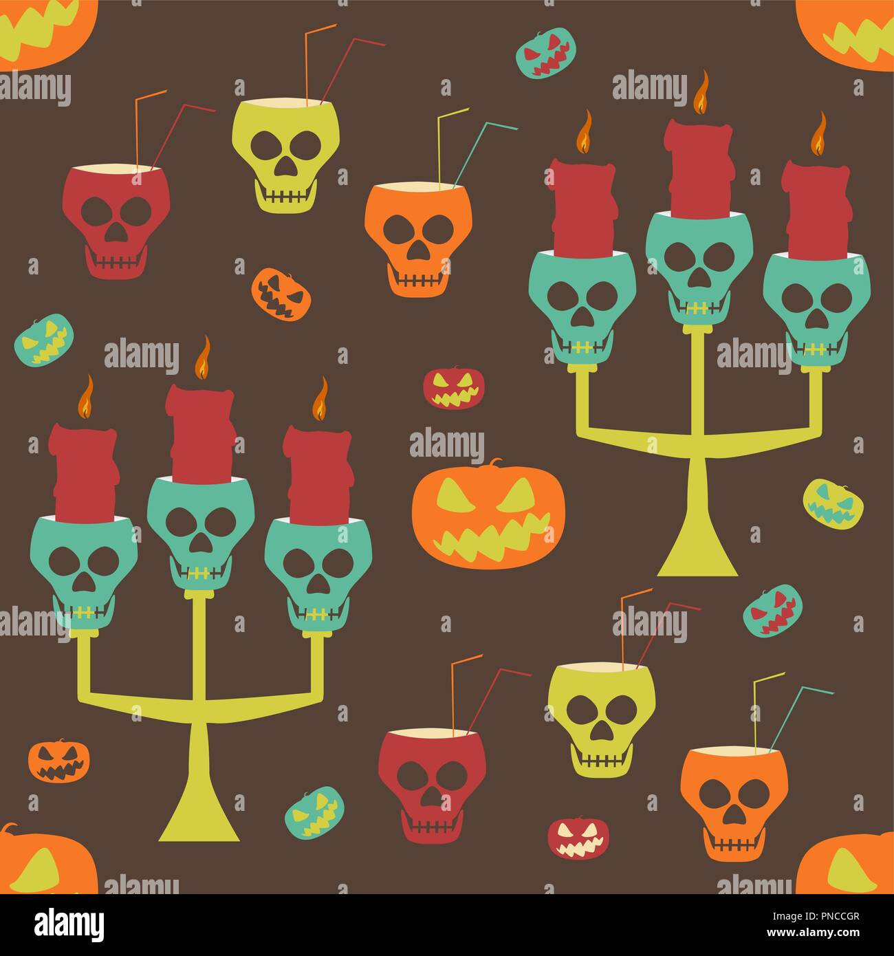 Halloween party seamless pattern. Evil pumpkins, human skulls as candlesticks and goblets with drinking straws. Crazy variegated vector illustration - Stock Vector