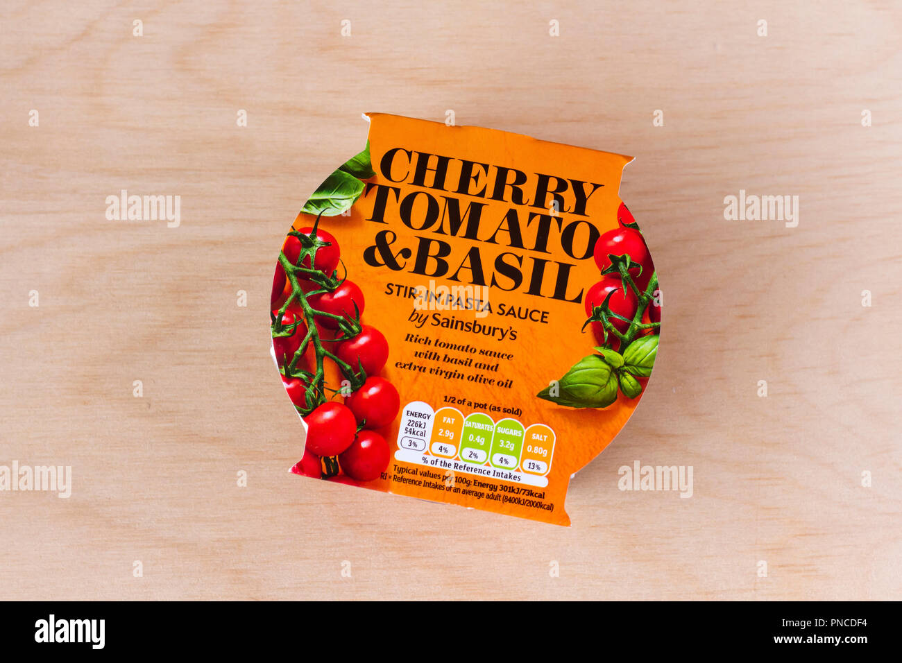 Cherry Tomato Basil Stir In Pasta Sauce By Sainsburys England United Kingdom Stock Photo Alamy