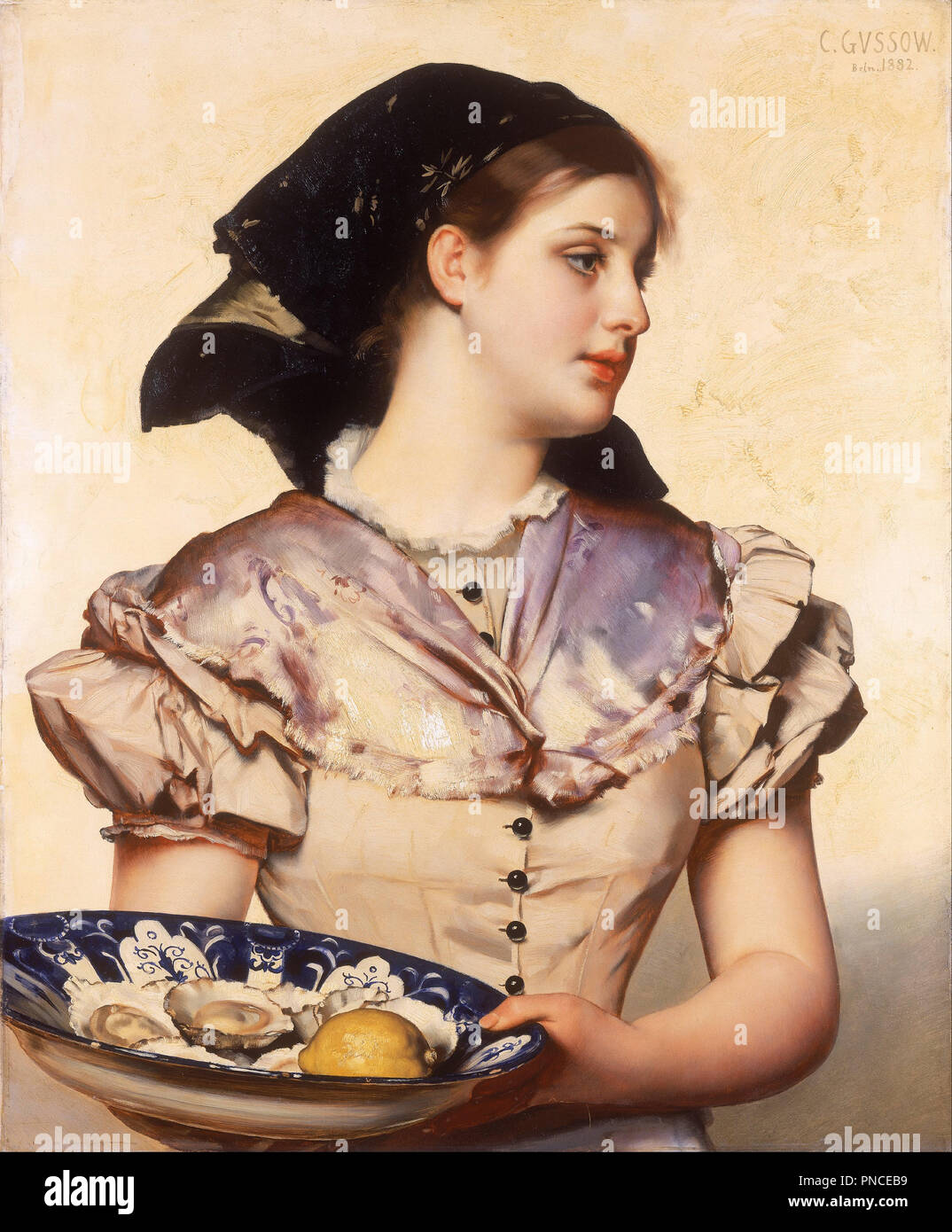The Oyster Girl. Date/Period: 1882. Oil on bevelled wood panel. Height: 764 mm (30.07 in); Width: 630 mm (24.80 in). Author: KARL GUSSOW. - Stock Image