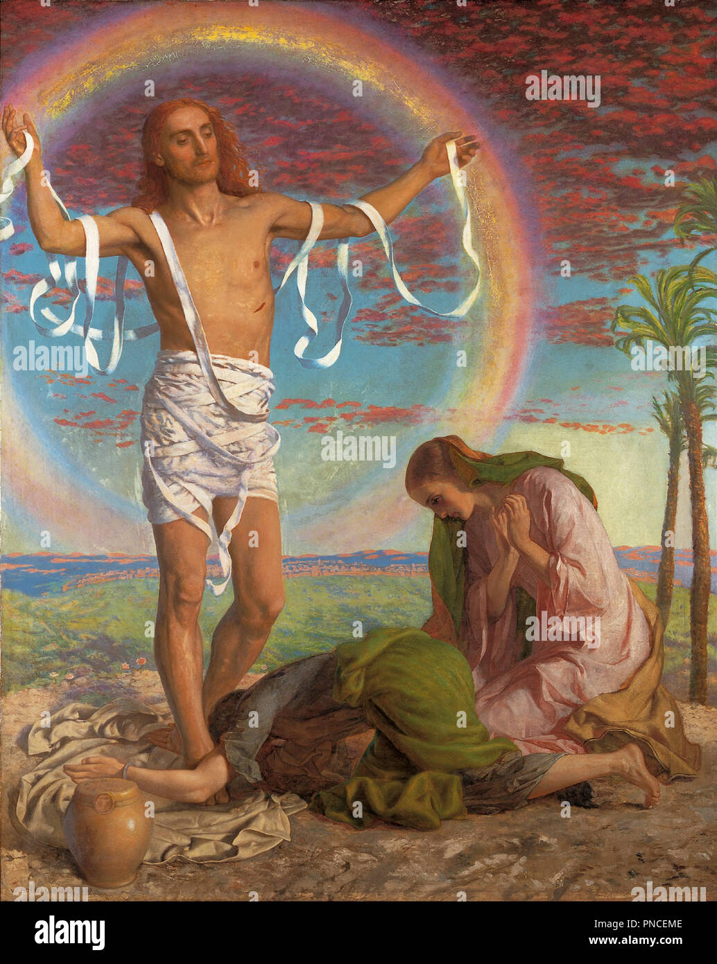 Christ and the two Marys. Date/Period: 1847 & 1897. Painting. Oil on canvas over wood panel. Height: 117.50 mm (4.62 in); Width: 94 mm (3.70 in). Author: William Holman Hunt. - Stock Image