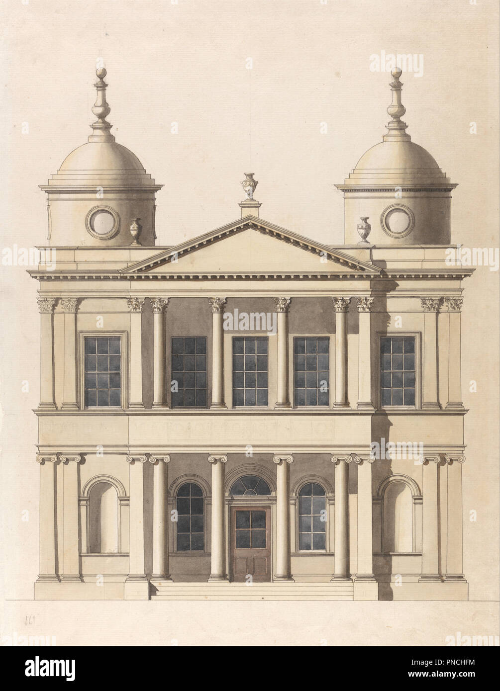 Design for a Church  Elevation of West Front  Architectural
